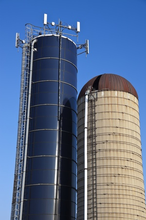 Cell antennas mounted on the top of the silo - seen in Wisconsin Stock Photo - 13092628