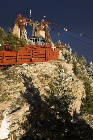 tramway: Sandia Peak Tramway seen during stormy day