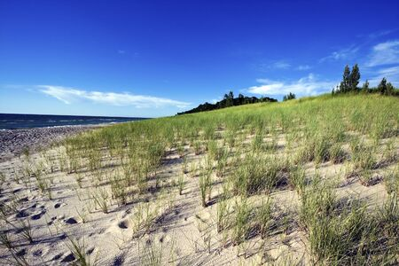 Sand Dunes by the shore of Lake Michigan in Michigan, USA.