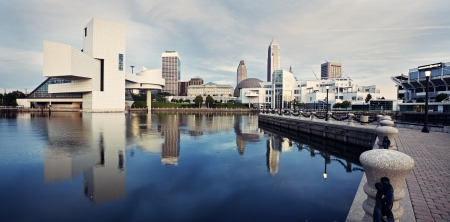 Panorama of Cleveland seen from the lake front.