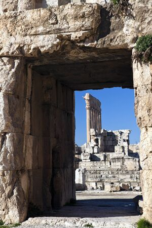 beirut lebanon: Baalbek ruins - columns seen in the ancient window. Seen morning time.