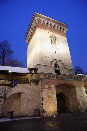 Florian Gate in Krakow seen during evening.