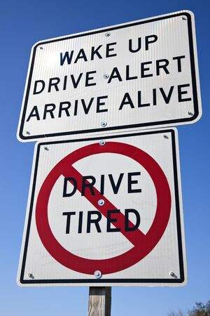 Dont drive tired - road sign seen on the highway Imagens