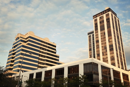il: Architecture of Peoria - Twin Towers on the right. Stock Photo