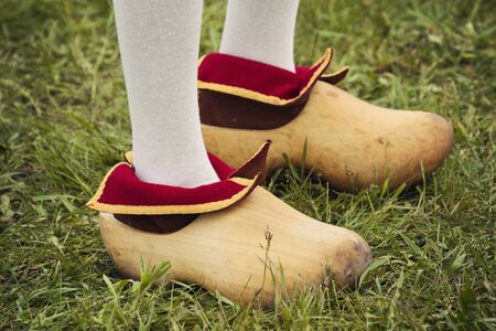 dutch: Dutch clogs - seen during Tulip Festival in Holland, Michigan. Stock Photo