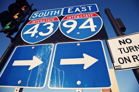 interstate: Interstate 90 and 94 in downtown of Milwaukee Stock Photo