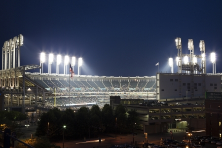 Cleveland, Ohio, USA - June 15, 2010 Progressive Field seen during spring evening time before an event. The stadium was built in 1994 and allows 43000 people. Progressive Field is home to Cleveland Indians - MLB team. Editorial