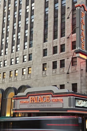 winter theater: Columbus, Ohio, USA - December 27, 2010 Palace Theatre in the center of Columbus, Ohio. Seen during winter evening. Designed by Thomas W. Lamb and built in 1926. Currently used as performing arts center.