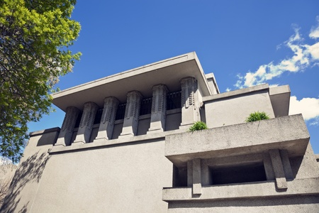 bri: Oak Park, Illinois, USA - April 09, 2012 Unity Temple in Oak Park, Illinois. Unity Temple is a Unitarian Universalist church - home of the Unity Temple Unitarian Universalist Congregation. Designed by Frank Lloyd Wright, and built in 1908. Seen during bri