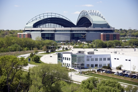 brewers: Milwaukee, Wisconsin, USA - May 10, 2012: Miller Park seen with blue sky seen during bright spring day. Miller Park was built in 2001 and is a home for Milwaukee Brewers. The capacity of the stadium is 41,900.