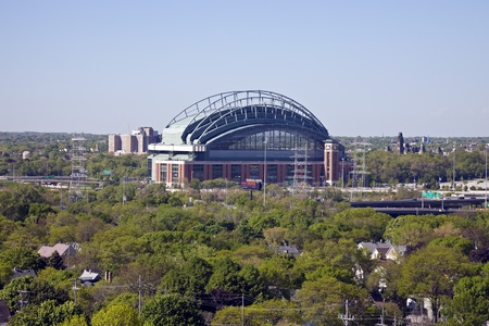 Milwaukee, Wisconsin, USA - May 11, 2012: Miller Park seen with blue sky seen during bright spring day. Miller Park was built in 2001 and is a home for Milwaukee Brewers. The capacity of the stadium is 41,900. Stock Photo - 13789563