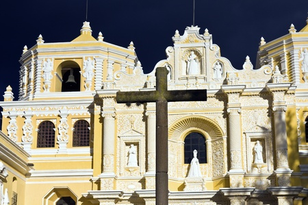 La Merced Church in Antigua. Seen late afternoon with dramatic sky. photo