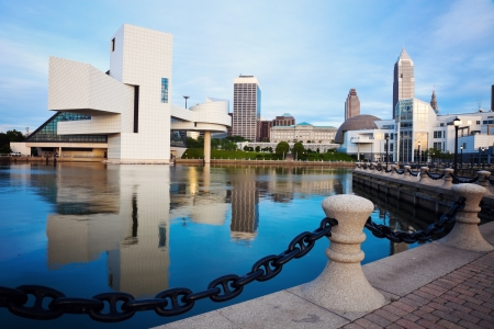 ohio: Cleveland seen morning time from the lakefront