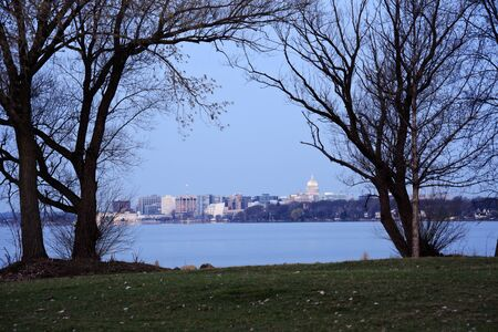 Madison downtown seen accros Lake Monona during sunrise photo