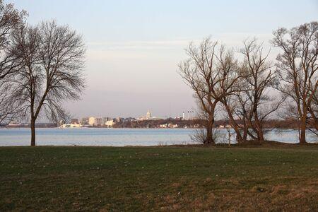 Madison downtown seen accros Lake Monona during sunrise photo