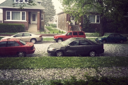 hail: Hail in Chicago during spring afternoon.