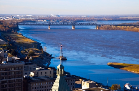 Mississippi River in downtown of Memphis, Tennessee.