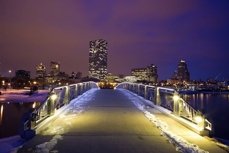 milwaukee: Winter sunset in Milwaukee - downtown seen from the lakefront Stock Photo