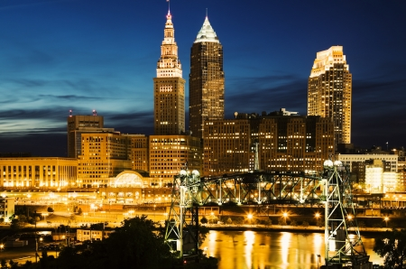 Cleveland, Ohio seen during blue evening