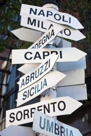 Directions from Boston to places in Italy seen in the center of the city Stockfoto