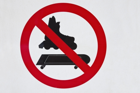 No skating sign - seen in downtown Denver Stock Photo - 14454232