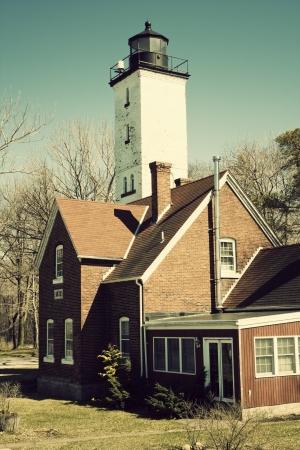 erie: Lighthouse in Erie, Pennsylvania. Shore of Lake Erie