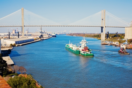 savanna: Ship entering port of Savannah - Talmadge Memorial Bridge
