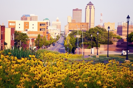 iowa: Morning in Des Moines, Iowa. Skyline of the city. Stock Photo