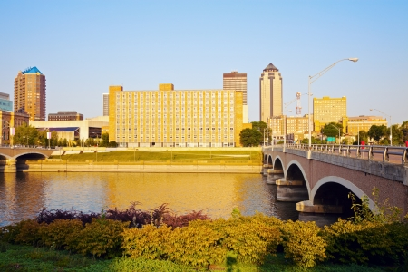 ia: Morning in Des Moines, Iowa. Skyline of the city. Stock Photo