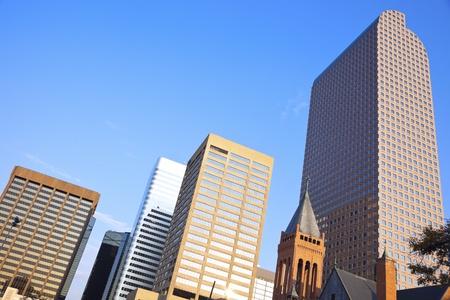 denver colorado: Denver downtown buildings seen in the morning Stock Photo