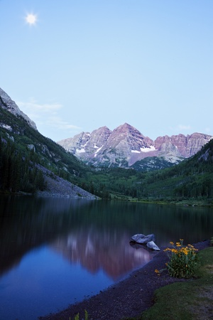 colorado rocky mountains: Yellow Flowers and Maroon Bells in the background. Seen before the sunrise.