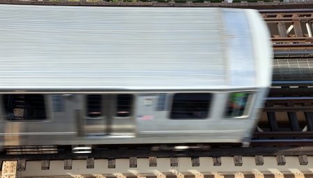 Elevated train trucks above Lake Avenue in Chicago.