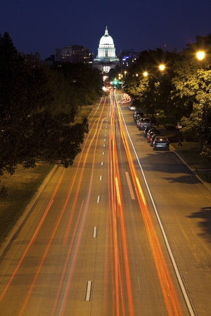 Streets of Madison, Wisconsin seen evening time. State Capitol Builidng in the back. Stock Photo - 15673939