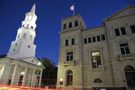 charleston: Architecture of Charleston seen nigth time Stock Photo