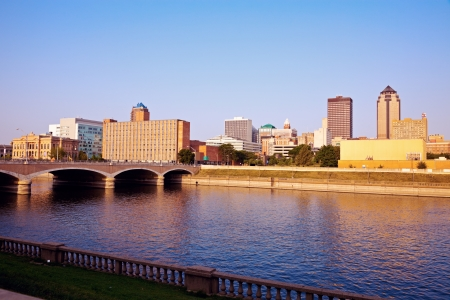 Morning in Des Moines, Iowa. Skyline of the city. Stock Photo