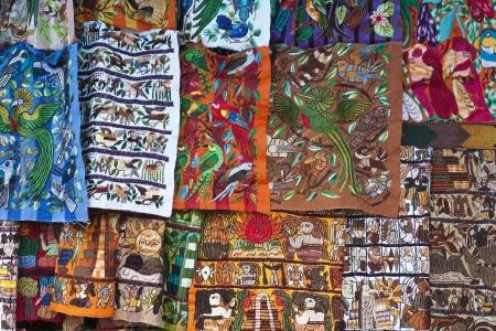 textile image: Colorful materials - market in Chichicastenango, Guatemala  Stock Photo