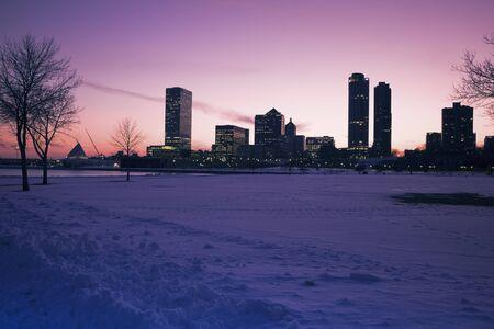 winter scenery: Sunset in Milwaukee, Wisconsin in winter scenery