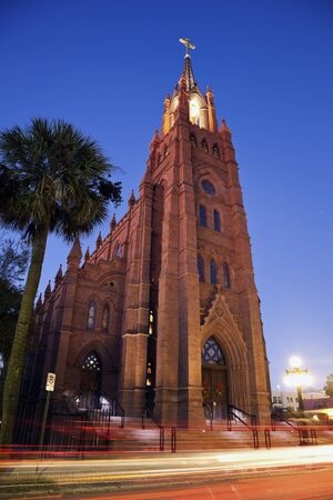 charleston: Church in Charleston seen evening time with the street