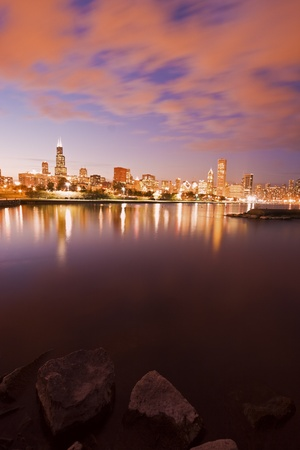 aon: Colorful Chicago sunset and Lake Michigan