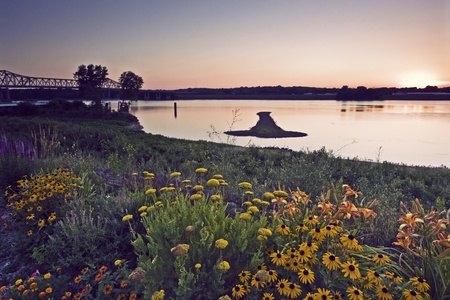 mississippi river: Arrow Island on Mississippi - border between Illinois and Iowa. Stock Photo