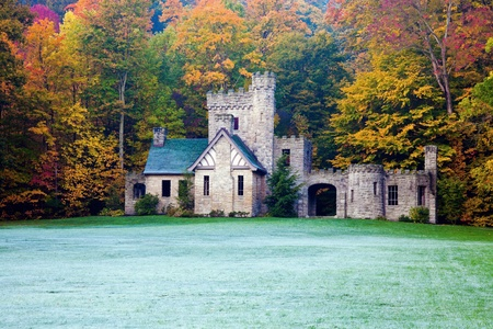 Squires Castle in Willoughby Hills, Ohio. Colorful trees and frost on the grass.