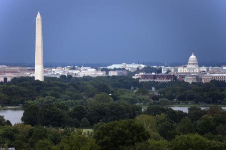 The US Capitol and Washington Monument seen from Arlington, Virginia. Stock Photo