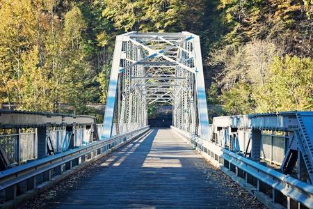 west virginia trees: Old Bridge on New River in West Virginia Stock Photo