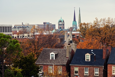 portsmouth: Downtown of Portsmouth, Virginia. Seen from the top of building. Stock Photo