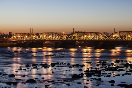Bridge in Trenton, New Jersey seen at sunrise photo