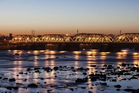 Bridge in Trenton, New Jersey seen at sunrise Stok Fotoğraf