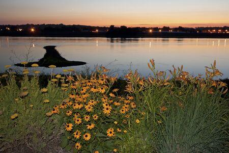 davenport: Arrow Island on Mississippi - border between Illinois and Iowa. Stock Photo