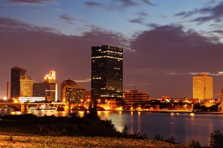 toledo: Toledo, Ohio - downtown over Maumee River at sunset Stock Photo