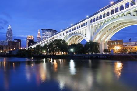 Cleveland skyline seen accross Cuyahoga River photo