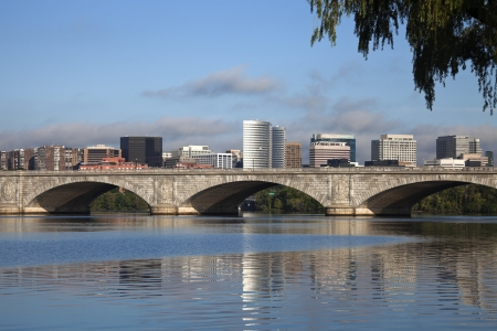 virginia: Rosslyn, Virginia and Potomac River during the morning Stock Photo
